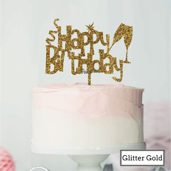 Happy Birthday Fun with Champagne Glasses Cake Topper Premium 3mm Acrylic