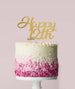 Happy 12th Cake Topper Mirror Card Gold