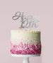 Happy 12th Cake Topper Mirror Card Silver
