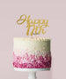 Happy 17th Cake Topper Mirror Card Gold