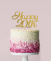 Happy 20th Cake Topper Mirror Card Gold