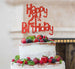 Happy 21st Birthday Cake Topper Glitter Card Red