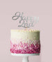 Happy 2nd Cake Topper Mirror Card Silver