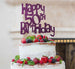 Happy 50th Birthday Cake Topper Glitter Card Dark Purple