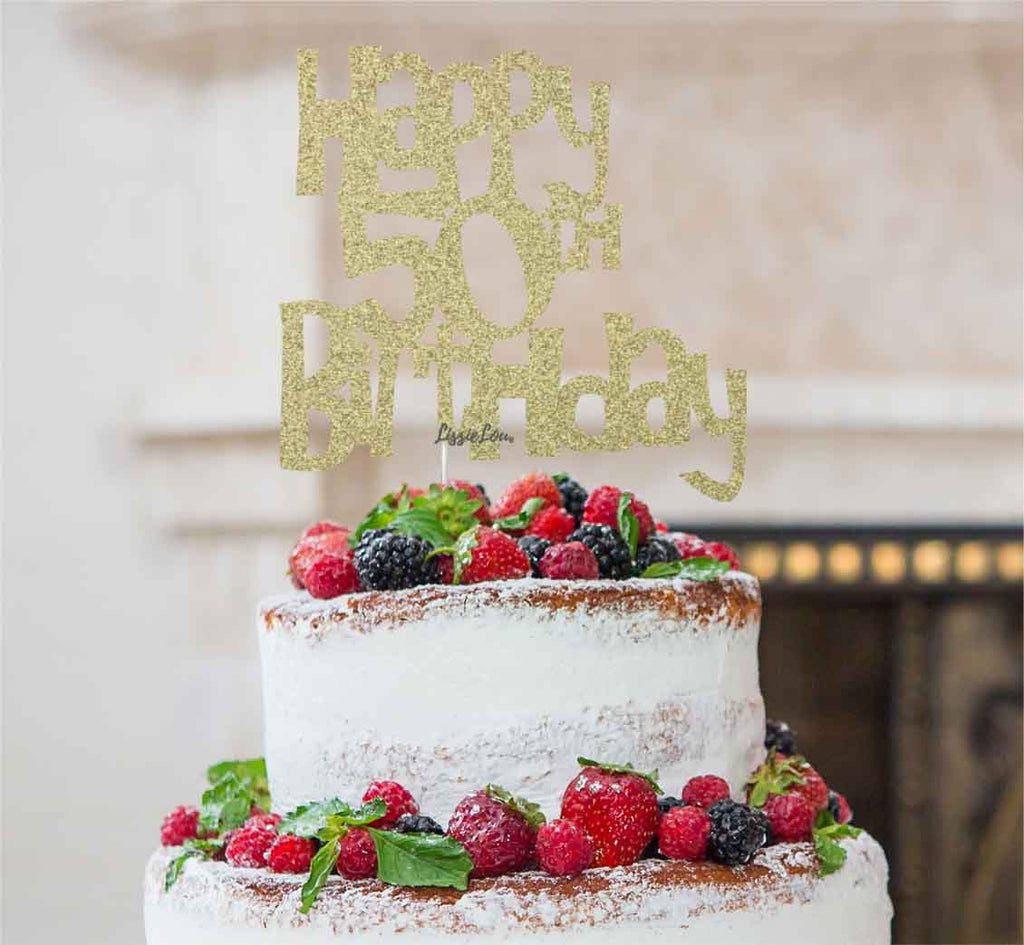 Happy 50th Birthday Cake Topper Glitter Card Gold
