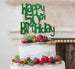 Happy 50th Birthday Cake Topper Glitter Card Green