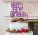 Happy 50th Birthday Cake Topper Glitter Card Light Purple