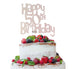 Happy 50th Birthday Cake Topper Glitter Card White