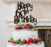 Happy 60th Birthday Cake Topper Glitter Card Black