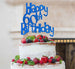 Happy 60th Birthday Cake Topper Glitter Card Dark Blue