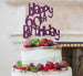 Happy 60th Birthday Cake Topper Glitter Card Dark Purple