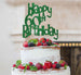 Happy 60th Birthday Cake Topper Glitter Card Green