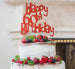 Happy 60th Birthday Cake Topper Glitter Card Red