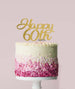 Happy 60th Cake Topper Mirror Card Gold