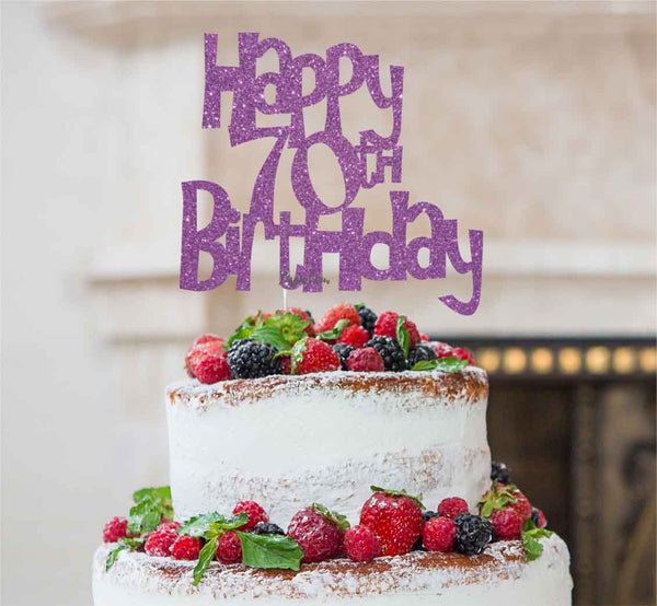 Happy 70th Birthday Cake Topper Glitter Card Light Purple