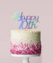 Happy 70th Cake Topper Mirror Card Iridescent
