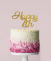 Happy 7th Cake Topper Mirror Card Gold