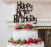 Happy 80th Birthday Cake Topper Glitter Card Black