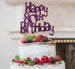 Happy 80th Birthday Cake Topper Glitter Card Dark Purple
