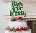 Happy 80th Birthday Cake Topper Glitter Card Green