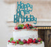 Happy 80th Birthday Cake Topper Glitter Card Light Blue