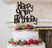 Happy 90th Birthday Cake Topper Glitter Card Black