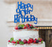 Happy 90th Birthday Cake Topper Glitter Card Dark Blue