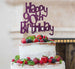 Happy 90th Birthday Cake Topper Glitter Card Dark Purple