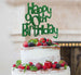 Happy 90th Birthday Cake Topper Glitter Card Green