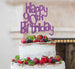 Happy 90th Birthday Cake Topper Glitter Card Light Purple