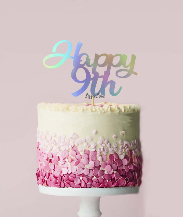 Happy 9th Cake Topper Mirror Card Iridescent