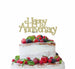 Happy Anniversary Cake Topper Glitter Card Gold