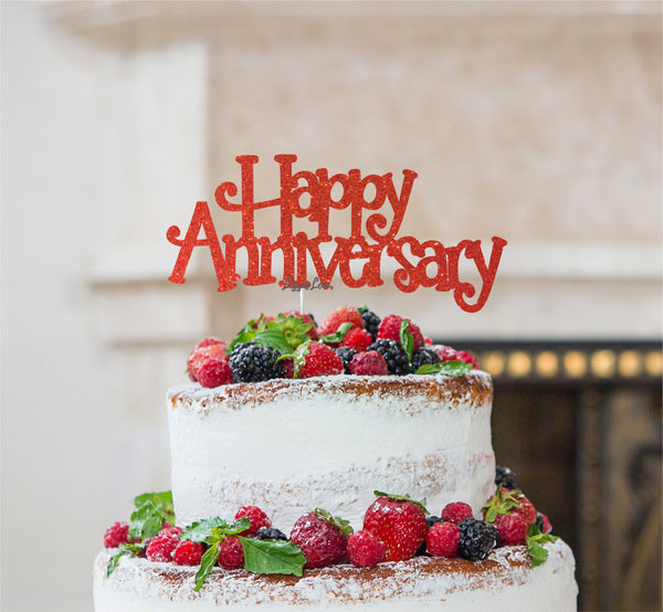 Happy Anniversary Cake Topper Glitter Card Red