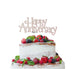 Happy Anniversary Cake Topper Glitter Card White