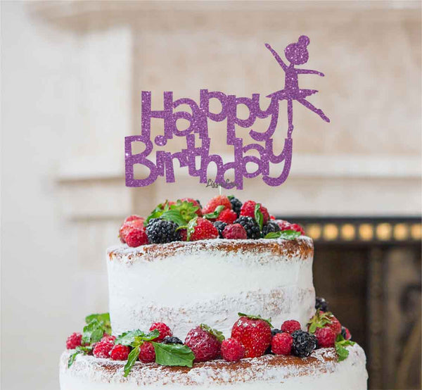 Happy Birthday Ballerina Cake Topper Glitter Card Light Purple