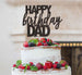Happy Birthday Dad Cake Topper Glitter Card Black