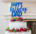 Happy Birthday Dad Cake Topper Glitter Card Dark Blue