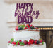 Happy Birthday Dad Cake Topper Glitter Card Dark Purple