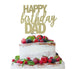 Happy Birthday Dad Cake Topper Glitter Card Gold