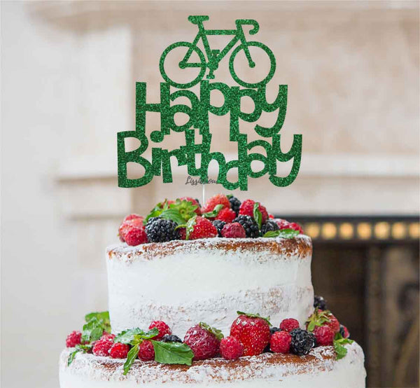 Happy Birthday Bicycle Cake Topper Glitter Card Green