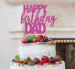 Happy Birthday Dad Cake Topper Glitter Card Hot Pink