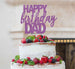 Happy Birthday Dad Cake Topper Glitter Card Light Purple