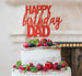 Happy Birthday Dad Cake Topper Glitter Card Red