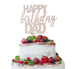 Happy Birthday Dad Cake Topper Glitter Card White