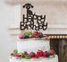 Happy Birthday Dog Cake Topper Glitter Card Black