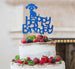 Happy Birthday Dog Cake Topper Glitter Card Dark Blue