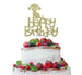 Happy Birthday Dog Cake Topper Glitter Card Gold