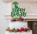 Happy Birthday Dog Cake Topper Glitter Card Green