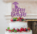 Happy Birthday Dog Cake Topper Glitter Card Light Purple