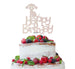 Happy Birthday Dog Cake Topper Glitter Card White